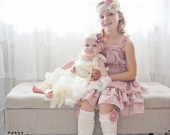 Easter Spring Dress & Girl's and Baby Girl's Lace Headbands. Mauve Ruffle Dress. Flower Girl Dress. Valentine's Day Dress, Baby Girl - 6/8