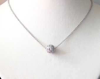 Silver necklace, pendant necklace, silver crystal ball necklace, dainty necklace, necklace gift, silver ball necklace,