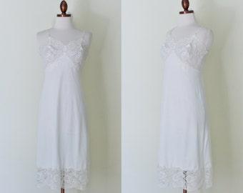 vintage 1950s white lace slip / 50s white knee length slip  / XS - S
