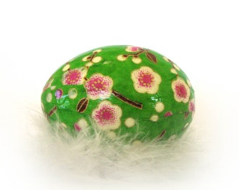 Washi Egg Decoration - Bright Green Floral