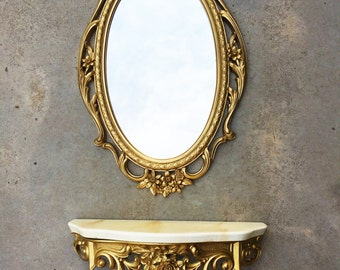 Vintage Syroco Mirror Shelf and Sconce Retro Hollywood Regency