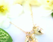 Gold squirrel and acorn necklace, scrat loves acorn necklace, gold squirrel charm, Thanksgiving gold nature inspired Scrat squirrel necklace