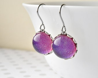 Pink Earrings - Gift for Her - Sparkly Dangle Earrings - Glitter Jewellery - Holographic Glitter Earrings - Hypoallergenic Drop Earrings