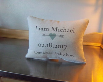 Custom baby pillow name pillows boy nursery throw pillow newborn gifts personalized date cushion baby shower gift ideas toddler room decor