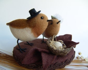 Birds - Needle Felted Wedding Cake Topper