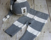 Newborn Boy Photo Prop Hat and Pant Set - Newborn Upcycled Outfit - Gray Stripe - READY TO SHIP