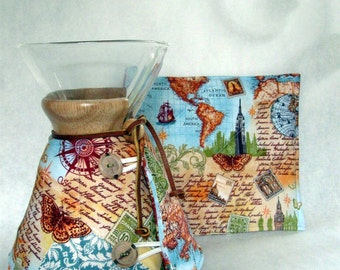 Chemex Cozy and Warming Pad Set- World Travel/Map Motif-3,6,8,10  cup size-made to order