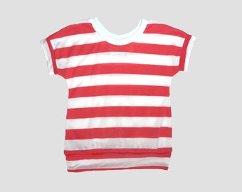 SALE// Girls summer clothes, coral stripe kids shirt, baby toddler girls shirt, ready to ship, 18-24m, 2T