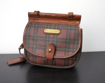 Vintage Ralph Lauren Small Cross Body Bag, Brown and Black Plaid Shoulder Bag, Brown Leather, Adjustable Shoulder Strap, Polo 700003