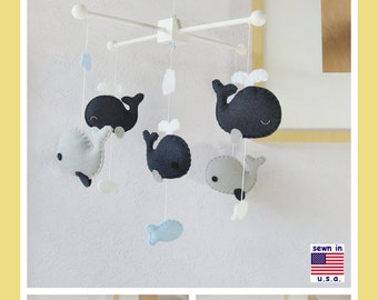Baby Crib Mobile, Baby Mobile, Baby Boy Mobile, Whale Mobile, Whale Nursery Bedding, Navy Blue Gray White, Match Bedding Mobile