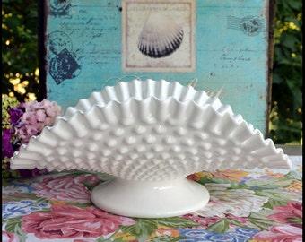 Fenton Milk Glass Hobnail Banana Stand / Milk Glass Wedding Centerpiece / Milk Glass Hobnail Banana Bowl / Fenton Serving Bowl