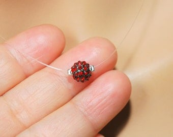 Floating Crystal Necklace, Red Crystal Necklace, Invisible Thread Necklace, Dainty Necklace, Bead Charm Illusion Necklace