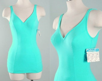 RESERVED 50s 60s CATALINA Swimsuit / DEADSTOCK 1950s 1960s Retro Green Blue Aquamarine Mod Pinup Romper Swimwear VlV Playsuit Xs S Small