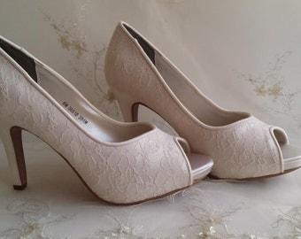 Ivory Lace Wedding Shoes White Lace Wedding Shoes Ivory Lace Bridal Shoes White Lace Bridal Shoes