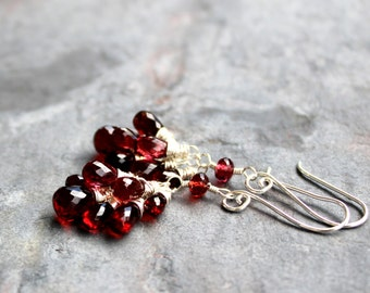 Garnet Cluster Earrings Dangle Red gemstone earrings sterling silver, red grape clusters
