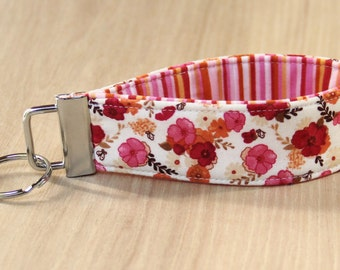 Key Fob Wristlet - Pink and Orange Flowers - Ready to Ship