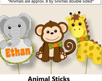 Jungle Baby Shower Decorations, Centerpiece Sticks, Safari Birthday Party,  Favor, Banner,