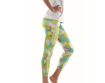 Waterlily Artist Leggings // ethical bold stylish yoga pants designer leggings and capris in abstract painted patterns by lisa barbero