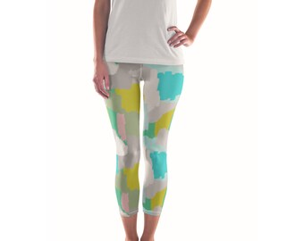 Me And You Mingled Artist Leggings // ethical bold stylish yoga pants designer leggings in abstract painted patterns by lisa barbero