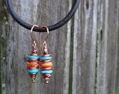 Wrapped Turquoise and Spiny Oyster Shell Dangle Earrings