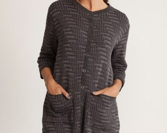 Knitted  top, gray jacket, jacquard cardigan, buttoned down top, 3/4 sleeves, winter open sweater, loose fit printed top, scoop neck, sale