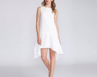 Summer wedding dress, Women lined dress, wedding dress, Boho chic, crepe short Dress, white, asymmetrical, summer dress, embroidered dress