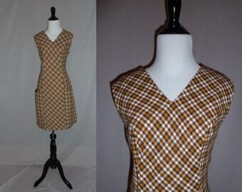 60s Brown Plaid Dress - Sleeveless - Big Pockets - Mod Plaid Dress - Vintage 1960s - M L