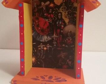 Day of the dead Dia de los Muertos Colorful and festive Nicho Altar Shrine cabinet