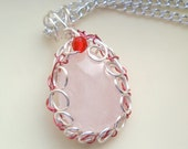 Rose Quartz Necklace, Rose and Red Necklace, Silver necklace,