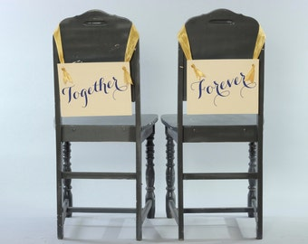 Together Forever Wedding Signs | Set of 2 Hanging Signs Chair Banners Bride Groom Handmade USA Modern Script Photo Props Newlyweds 1072 BW