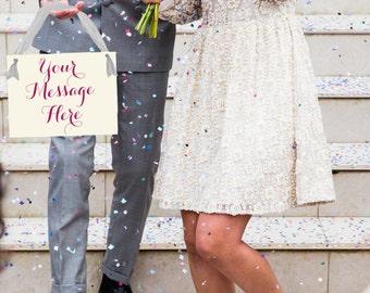 Custom Wedding Banner   Hanging Bridal Sign Bride & Groom   Handmade in USA   Photo Prop   Honeymoon   Script Font   Flower Girl Ring Bearer