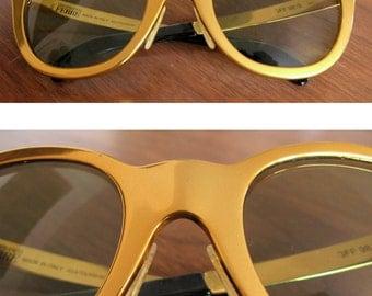 Gianfranco Ferre sunglasses - 80s vintage gold metal chunky glasses shades unique rare designer italian eyewear unisex mens womens mod retro