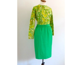 neon green skirt - 80s vintage bright kelly wiggle fit short tight high waisted mod pencil knee length mini Emanuel Ungaro Parallele Paris