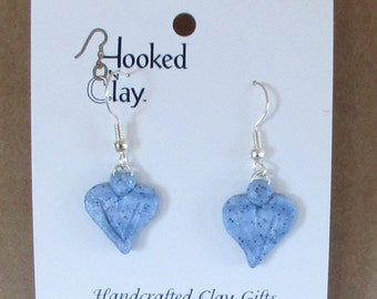DENIM HEART EARRINGS sparkle handformed