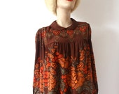 1980s Silk Blouse - floral print boho poet shirt  - size S/M