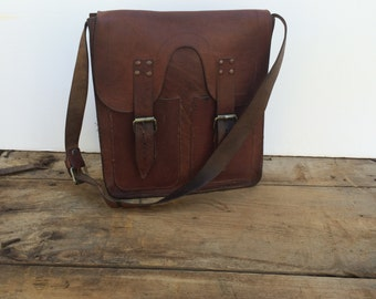 Leather Saddle bag Handcrafted Chestnut Brown
