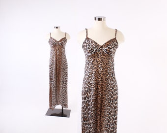 Vintage 60s NIGHTGOWN / 1960s LEOPARD Print Silky Nylon Vanity Fair Nightgown xs - s