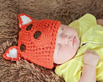 Fox hat, crochet hat-winter hat-orange hat-photography prop-animal hat