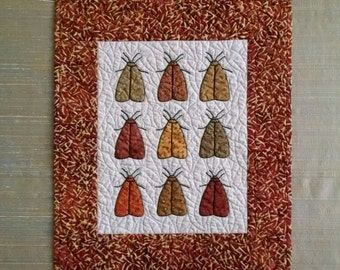 Hand Applique Miniature Moth Quilted Wall Hanging For Fall