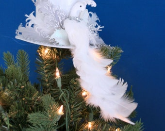 White Bird Vintage Centerpice Fascintor Top Hat, Fashion or Tree Topper, Photo Prop