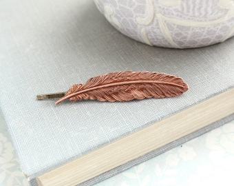 Copper Feather Bobby Pin Nature Hair Accessories Woodland Wedding Rustic Rose Ox Bobbies Bridesmaids Gift  (One Piece)