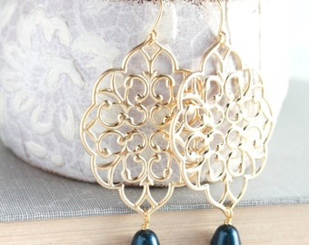 Gold Filigree Earrings Navy Blue Pearl Dangles Big Gold Filigree Large Chandelier Dark Blue Pearl Drop Bridal Jewelry Bridesmaids Gift