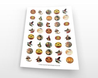 Halloween digital collage sheet-witches instant download-1 in circle images-images bottle cap-printable-digital download-jewelry-TYP005