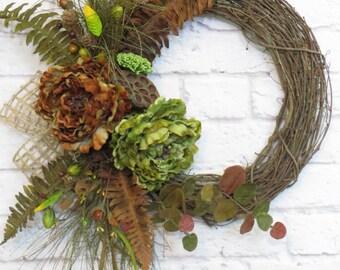 All Seasons Wreath, Rustic Wreath, Year Round Wreath, Peony Wreath, Green and Brown Wreath