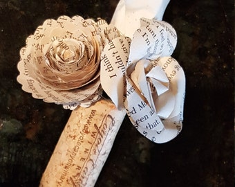men's book page paper flower boutonniere on wine cork with mini rose and  bud and spiral rose