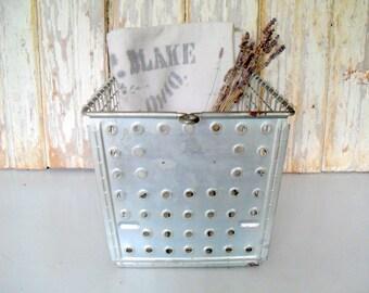 Industrial Wire Locker Basket, Antique Swim Basket, Vintage Gym Locker Basket
