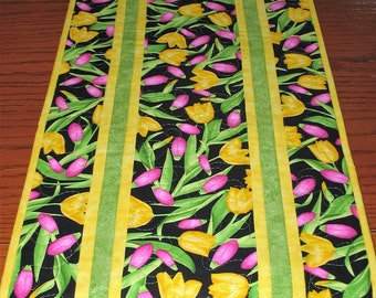 Spring Table Runner, Tulips, Floral, Summer,  reversible, quilted, fabric from Benartex