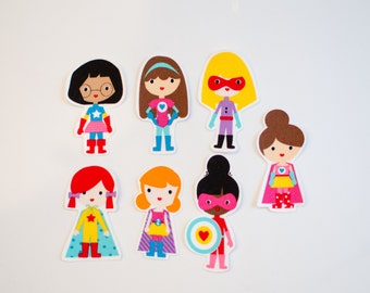 Set of 7 Iron On Appliques Set Fabric, DIY Project Supergirls Superhero Girl, Superhero Birthday Party, Girl Baby Shower Patch Ready to Ship