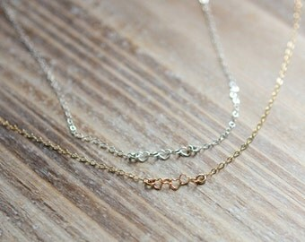 Connected Hearts Necklace - Family Necklace - Sterling Silver or Gold Filled - Delicate Everyday Layering Necklace