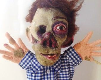 Needle Felted Zombie Puppet